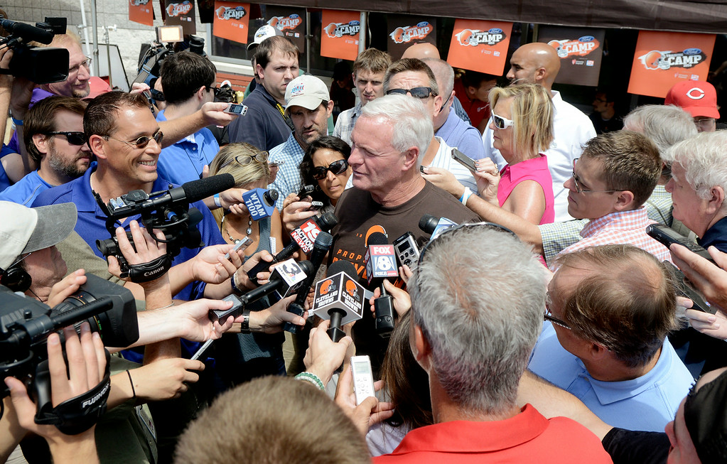Description of . Duncan Scott/DScott@News-Herald.com Browns owner Jimmy Haslam fields questions from the media as the Cleveland Browns opened training camp on July 26 with their first practice at their headquarters in Berea.