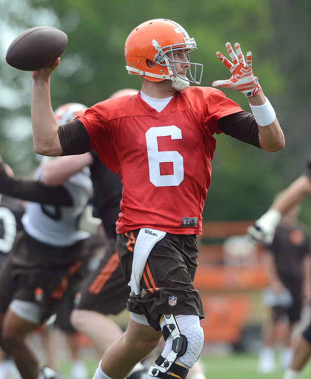 Description of . Duncan Scott/DScott@News-Herald.com Brian Hoyer throws a pass as the Cleveland Browns opened training camp on July 26 with their first practice at their headquarters in Berea.
