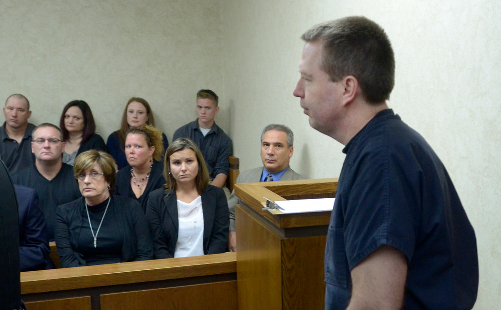 Description of . Jeff Forman/JForman@News-Herald.com Kevin Knoefel enters Lake County Common Pleas Court August 6 to sentenced for convincing his foster daughter to stab his wife to death.