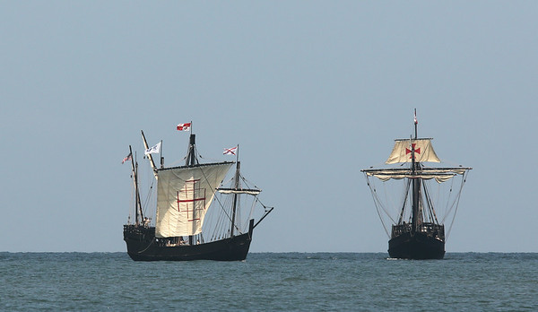 Tall Ships Nina and Pinta enter Lorain.
