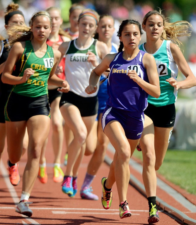 Description of . Maribeth Joeright/MJoeright@News-Herald.com <p> Berkshire's Christin Dornback stays with the pack and takes fifth place in the Division III girls 800 meter run during the state and field championship meet in Columbus,  June 7, 2014.