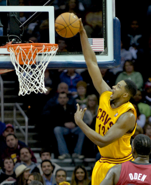 Description of . Jeff Forman/JForman@News-Herald.com Tristan Thompson dunks in the first half of the Cavaliers' 100-96 loss to the Heat March 18 at Quicken Loans Arena.