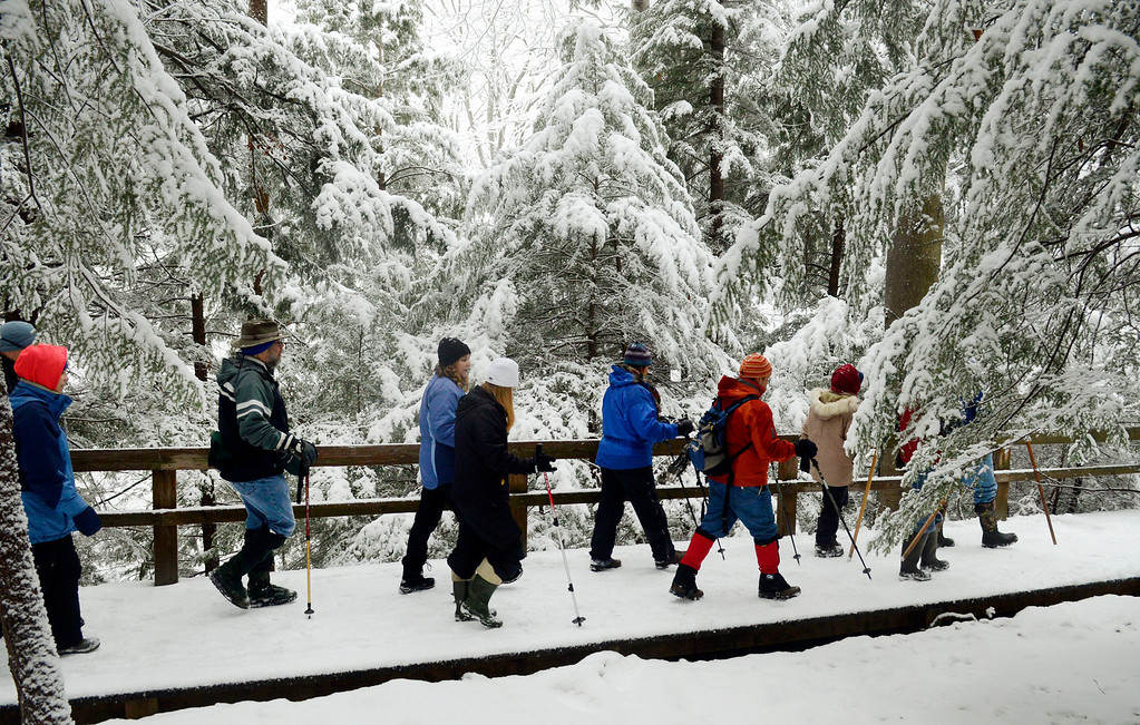 Description of . Maribeth Joeright/MJoeright@News-Herald.com A hardy group hikes through a forest of hemlock trees at Lake Metroparks Penitentiary Glen.