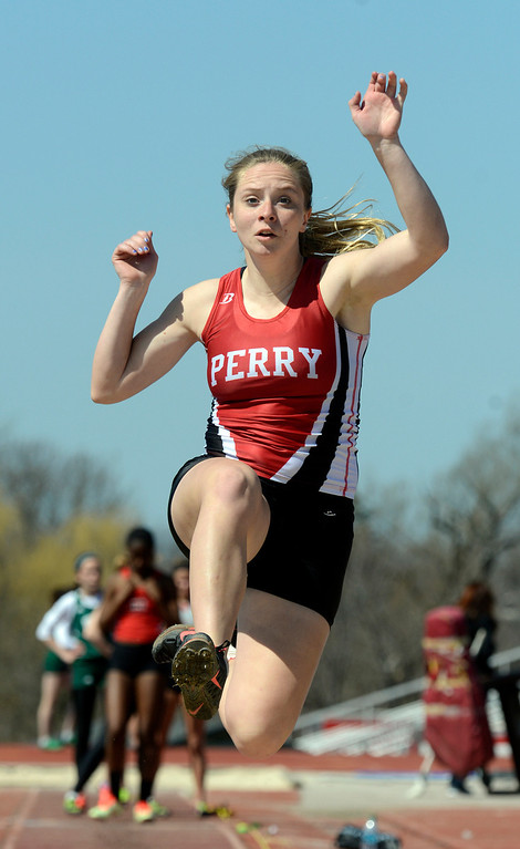 Description of . Maribeth Joeright/MJoeright@News-Herald.coms<p> Perry's Dana Crofoot took second place in the girls long jump during the Hilltopper Invitational meet at Chardon High School, April 12, 2014.
