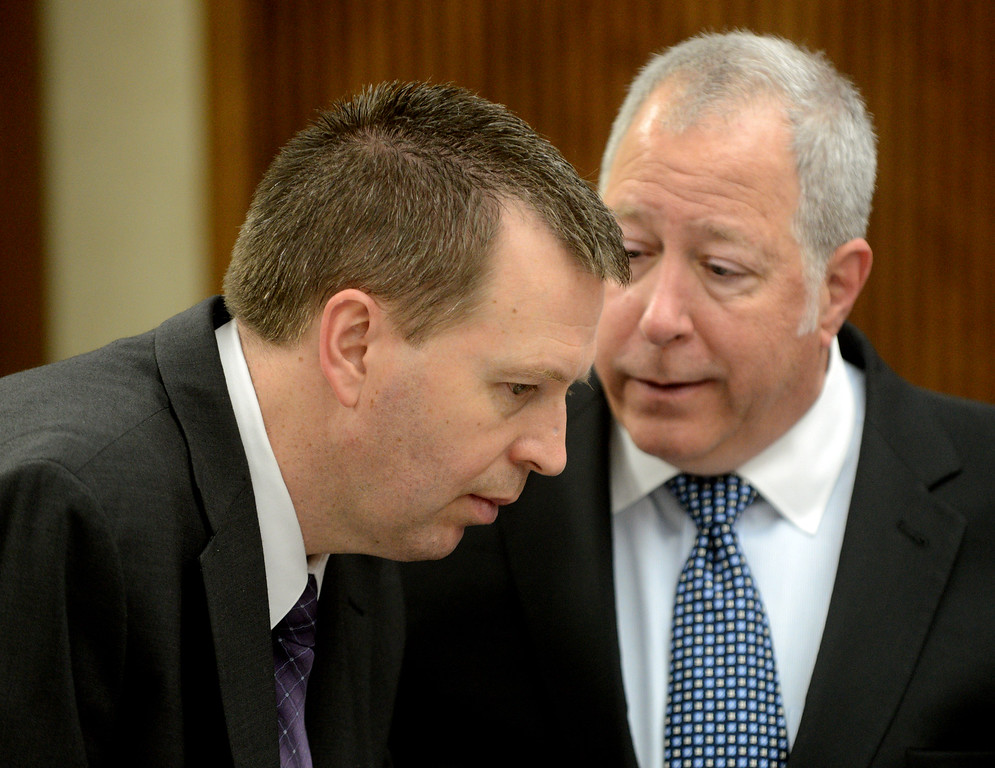 Description of . Duncan Scott/DScott@News-Herald.com Kevin Knoefel and his defense attorney Michael J. Connick confer at the end of the day's testimony in Lake County Common Pleas Court on June 9, 2014, at Knoefel's trial on a charge of conspiracy to commit aggravated murder.