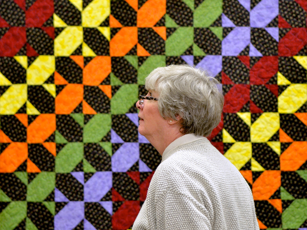 Description of . Jeff Forman/JForman@News-Herald.com Sandy Nelson, of Mentor, attends the opening reception Thursday for the  Quilts 2014 show at Lake Metoparks Farmpark.