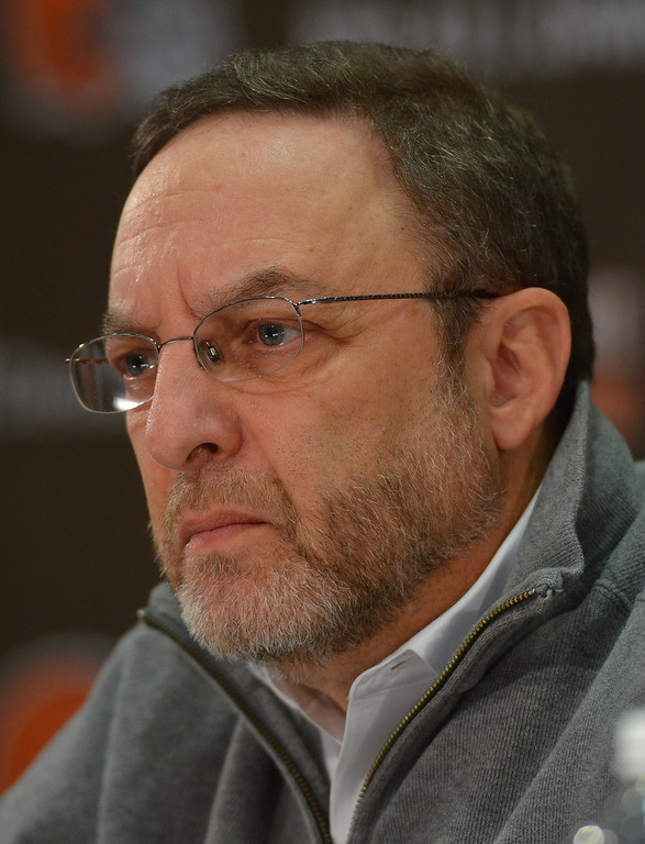 Description of . Michael Allen Blair/MBlair@21st-CenturyMedia.com Browns CEO Joe Banner fields questions from reporters during a press conference on December 30, 2013, discussing the firing of head coach Rob Chudzinski after less than one year at the helm of the Browns.
