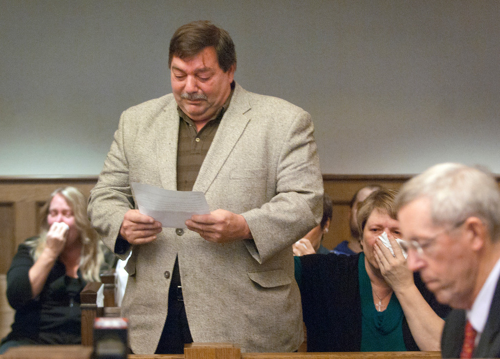 Description of . Duncan Scott/DScott@News-Herald.com Frederick J. Putzbach, the father of murder victim William Andrew Fayne Putzbach, makes a statement on December 19, 2011 in Lake County Common Pleas Court before Nathaniel Brown was sentenced to life in prison without parole.