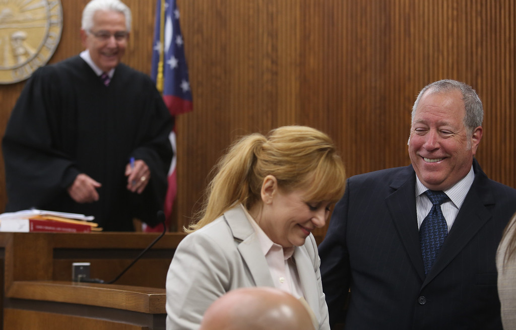 Description of . Michael Allen Blair/MBlair@News-Herald.com A rare light moment as attorneys from opposing sides, Lisa Neroda and Michael J. Connick share a laugh with Judge Joe Gibson during a break in Kevin Knoefel's murder conspiracy trial in Lake County Common Pleas Court on  June 5, 2014.