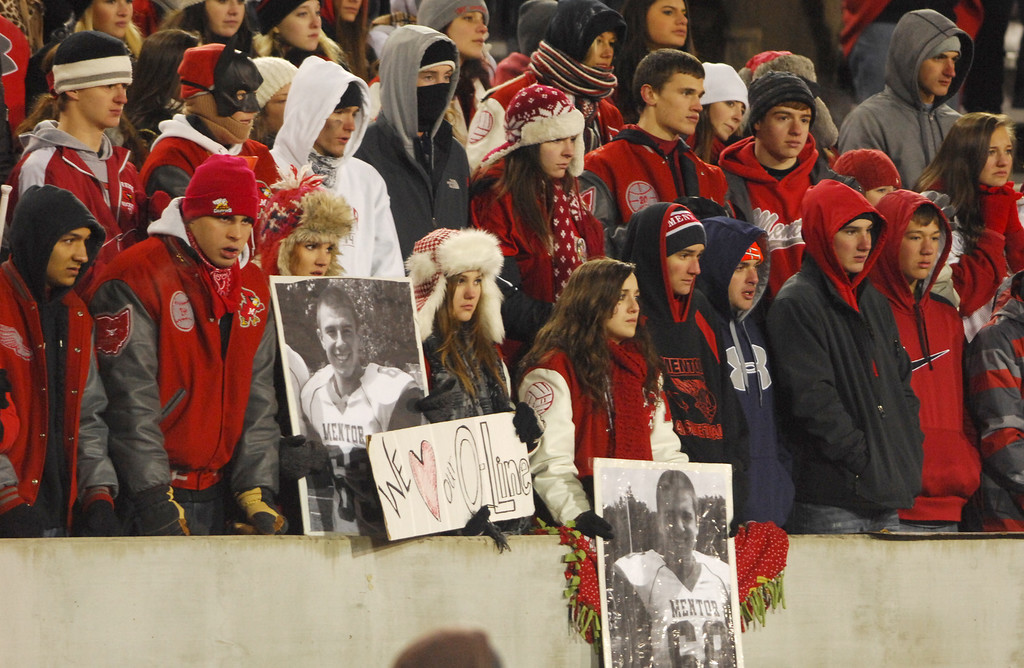 Description of . Michael Allen Blair/ MBlair@News-Herald.com Mentor fans look on during the waining moments of Saturday's 55-52 Div. I state championship loss to Cincinnati Moeller  at Fawcett Stadium in Canton.