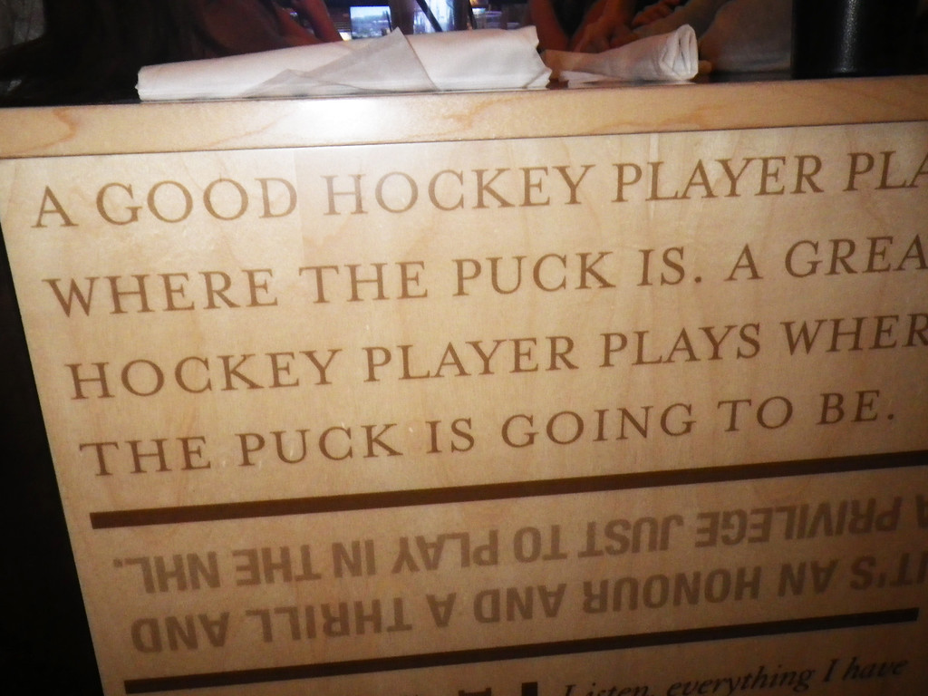 Description of . Janet Podolak/JPodolak@News-Herald.comQuotes from Wayne Gretzky about hockey, sportsmanship and a variety of topics are on tables around the restaurant.