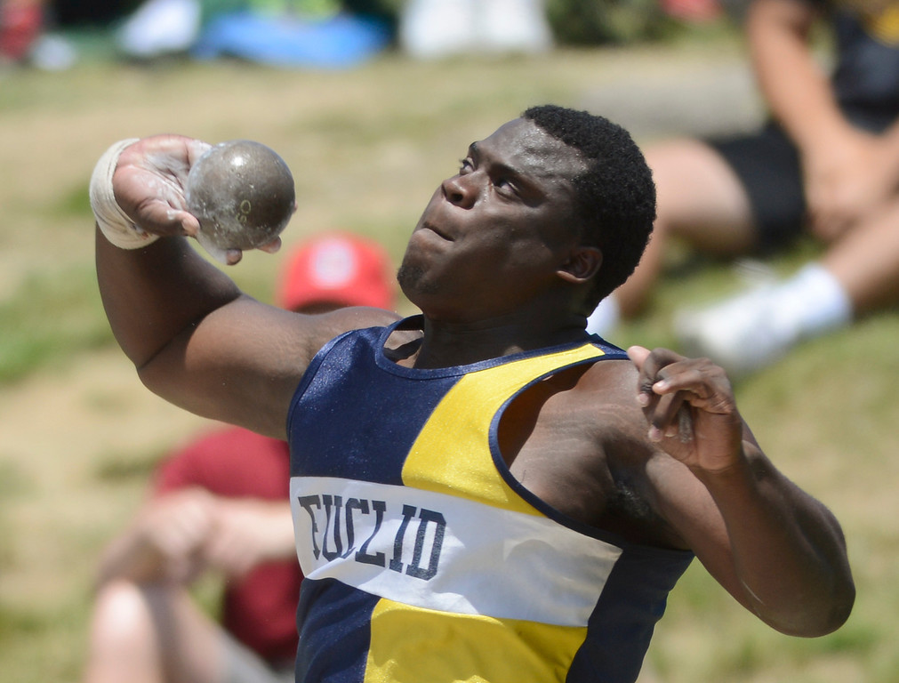 Description of . Maribeth Joeright/MJoeright@News-Herald.com <p> Euclid's Jeremiah Peters winds up to throw in the Division I boys shot put during the state track and field championship meet in Columbus,  June 7, 2014. Peters took fourth place in the event.