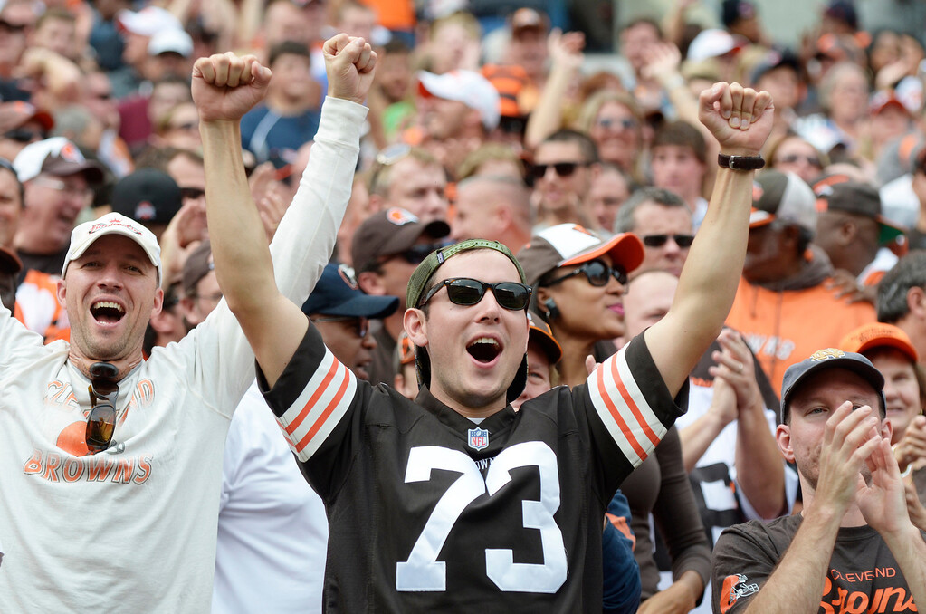 Description of . Jeff Forman/JForman@News-Herald.com Browns fan Scott Gehlbach, of  Lakewood, cheers as the Browns take over on downs in the second quarter of Cleveland's 17-6 win over the Cincinnati Bengals Sunday at FirstEnergy Stadium.