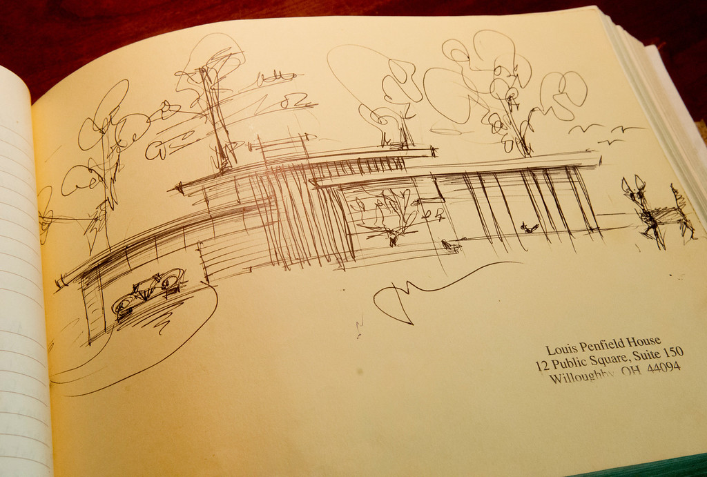 Description of . Duncan Scott/DScott@News-Herald.com A drawing of the Louis Penfield House in the home's guestbook.