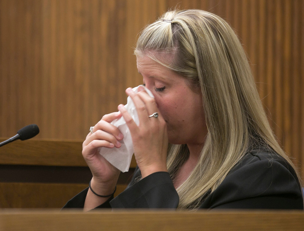 Description of . Michael Allen Blair/MBlair@News-Herald.com Sabrina Zunich's former case worker Nicole Corbett breaks down in tears while describing the day she learned of Lisa Knoefel's murder during Kevin Knoefel's murder conspiracy trial in Lake County Common Pleas Court on  June 4, 2014.