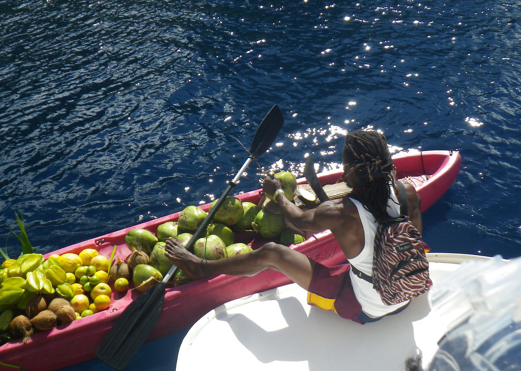 Description of . Janet Podolak/JPodolak@News-Herald.com<p>                                                                                Keeping his boat under control with his feet, a fruit vendor prepares to cut open a coconut for a thirsty sailboat passenger craving coconut water.