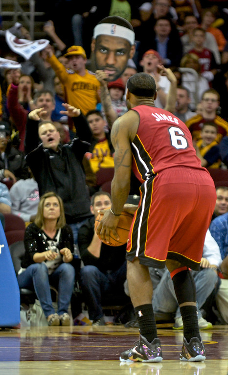 Description of . Jeff Forman/JForman@News-Herald.com Fans heckle LeBron James as he takes a foul shot late in the fourth quarter of the Cavaliers' 100-96 loss to the Heat March 18 at Quicken Loans Arena.