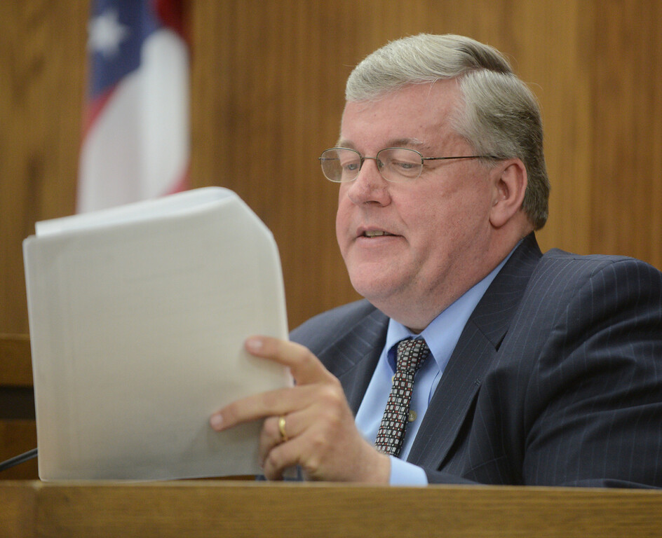 Description of . Duncan Scott/DScott@News-Herald.com Douglas Rohde of the Lake County Crime Lab, testifies in Lake County Common Pleas Court on June 9, 2014, day six of Knoefel's trial on a charge of conspiracy to commit aggravated murder.