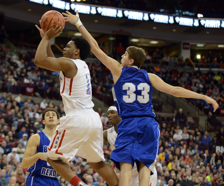 Description of . Duncan Scott/DScott@News-Herald.com VASJ's Brian Parker goes up for a shot in the third quarter defended by Columbus Bishop Ready's Josh Gantz. VASJ won the Division III state semifinal on March 21, 55-40, to advance to the state final on March 22.