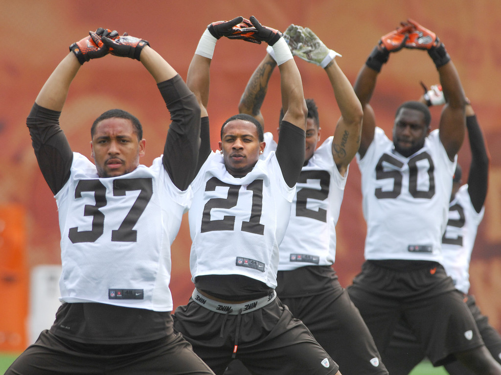 Description of . Michael Allen Blair/Digital First Media Browns' defensive backs Josh Aubrey (37), and Justin Gilbert (21) stretch with teammates during organized team activities on May 21 in Berea.