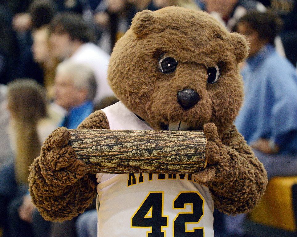 Description of . Duncan Scott/DScott@News-Herald.com Riverside's beaver mascot munches on a log during Riverside's 49-43 PAC matchup Friday at the Riverside Community Field House.
