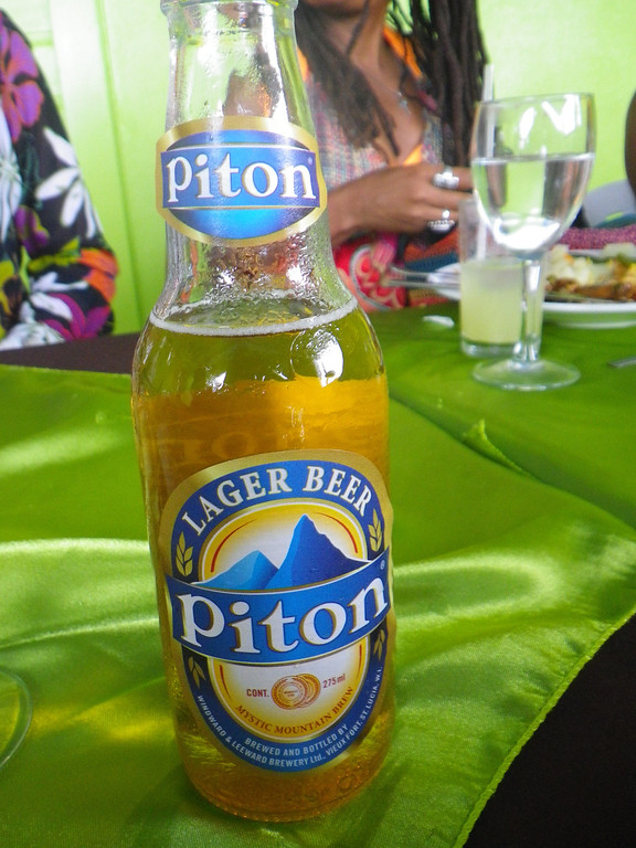 Description of . Janet Podolak/JPodolak@News-Herald.com<p>                                                       St Lucia's thirst-quenching Piton Beer takes its name from the island 's  landmark mountains.