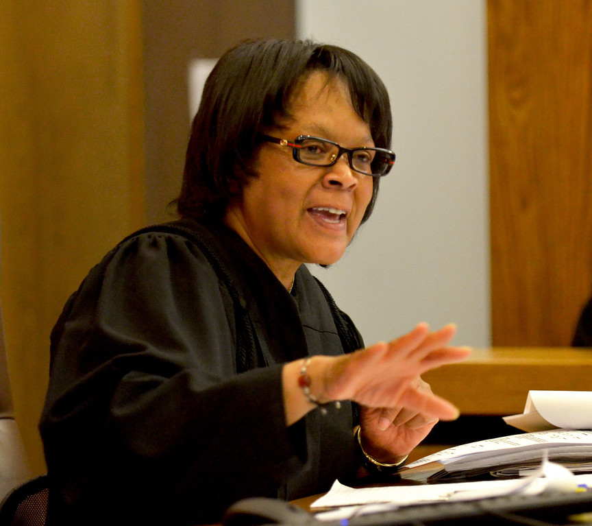 Description of . Jeff Forman/JForman@News-Herald.com Cuyahoga Common Pleas Judge Shirley Strickland Saffold speaks during the sentencing of Robert Moore and Richard Muse.