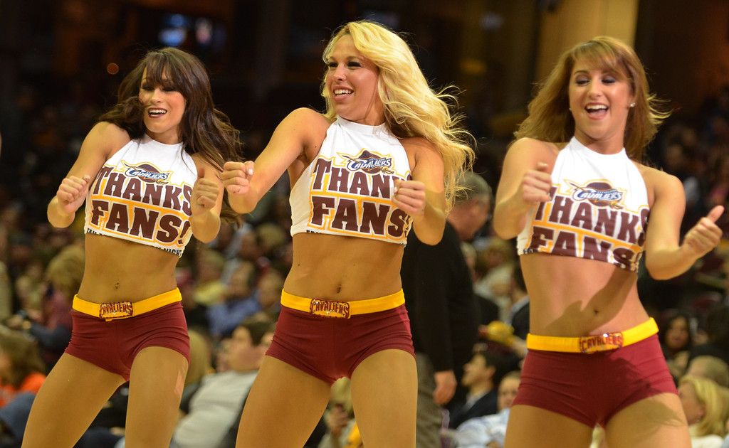Description of . Michael Allen Blair/Digital First Media The Cavalier Girls show their appreciation for the fans with special t-shirts for Fan Appreciation Night April 16 at Quicken Loans Arena.
