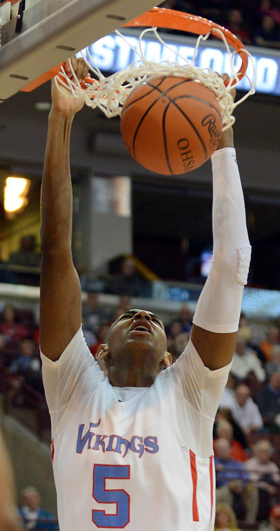 Description of . Duncan Scott/DScott@News-Herald.com VASJ's Dererk Pardon dunks the ball in the fourth quarter. VASJ won the Division III state semifinal over Columbus Bishop Ready on March 21, 55-40, to advance to the state final on March 22.