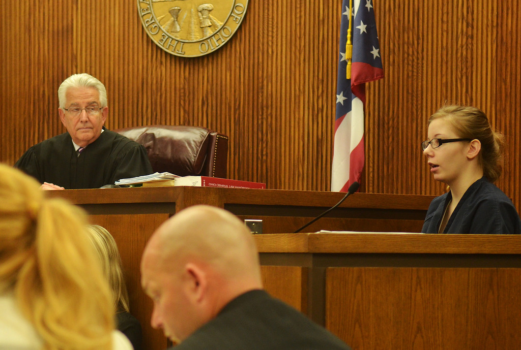 Description of . Michael Allen Blair/MBlair@News-Herald.com Foster daughter Sabrina Zunich describes her sexual relationship with defendant Kevin Knoefel during testimony in Kevin Knoefel's murder conspiracy trial in Lake County Common Pleas Court on  June 5, 2014.