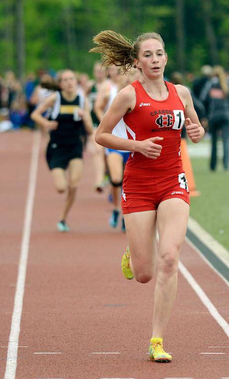 Description of . Maribeth Joeright/MJoeright@News-Herald.com<p> Chardon's Rachel Banks easily wins the girls 1600 meter run during the PAC meet at SPiRE Institute, May 15, 2014.