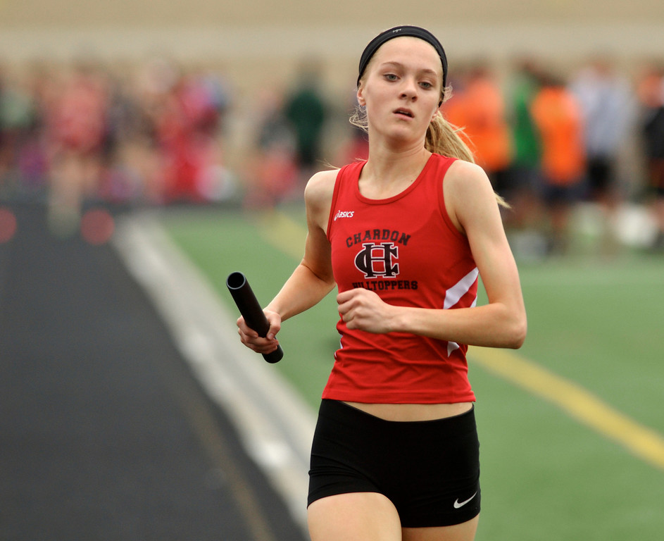 Description of . Jeff Forman/JForman@News-Herald.com Mikaylie Park anchors trhe Chardon girls distance medley team as they finish in first place during the Mayfield 2014 Track and Field Invitaional May 9 at Mayfield High School.