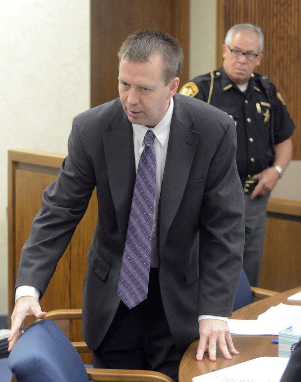 Description of . Duncan Scott/DScott@News-Herald.com Kevin Knoefel stands during a mid-morning break in Lake County Common Pleas Court on June 9, 2014, day six of Knoefel's trial on a charge of conspiracy to commit aggravated murder.