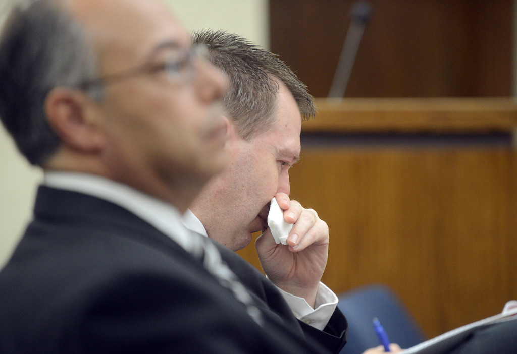 Description of . Duncan Scott/DScott@News-Herald.com Kevin Knoefel crys as his sister Kris Sutton testifies for the defense in Lake County Common Pleas Court on June 9, 2014, day six of Knoefel's trial on a charge of conspiracy to commit aggravated murder. At left is defense attorney Dennis N. LoConti.