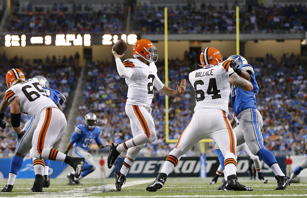 Description of . Cleveland Browns quarterback Johnny Manziel (2) throws against the Detroit Lions in the second half of a preseason NFL football game at Ford Field in Detroit, Saturday, Aug. 9, 2014. (AP Photo/Rick Osentoski)