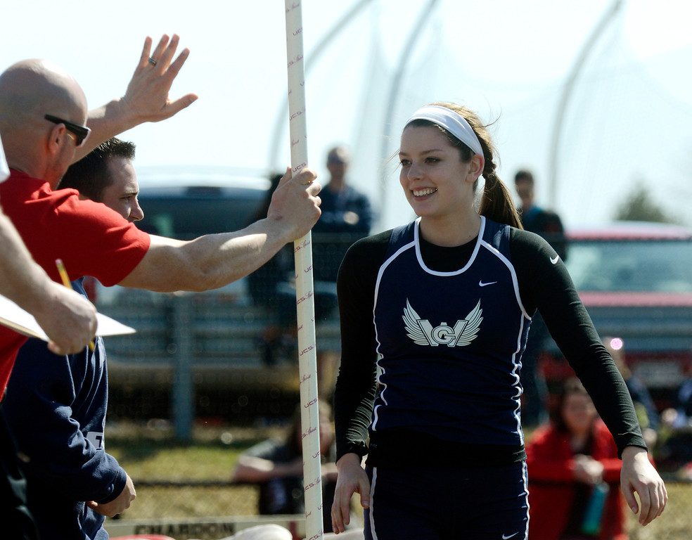 Description of . Maribeth Joeright/MJoeright@News-Herald.com<p> West Geauga's Audrey Rabe is congratulated by Geneva coach Bobby McQuoyb after Rabe set a meet and area record in the girls pole vault during the Hilltopper Invitational track meet at Chardon High School, April 12, 2014.