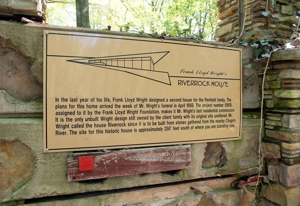 Description of . Duncan Scott/DScott@News-Herald.com The Riverrock House, a second home designed by Frank Lloyd Wright for Louis Penfield, was never built at the proposed site near the Chagrin River in Willoughby Hills.