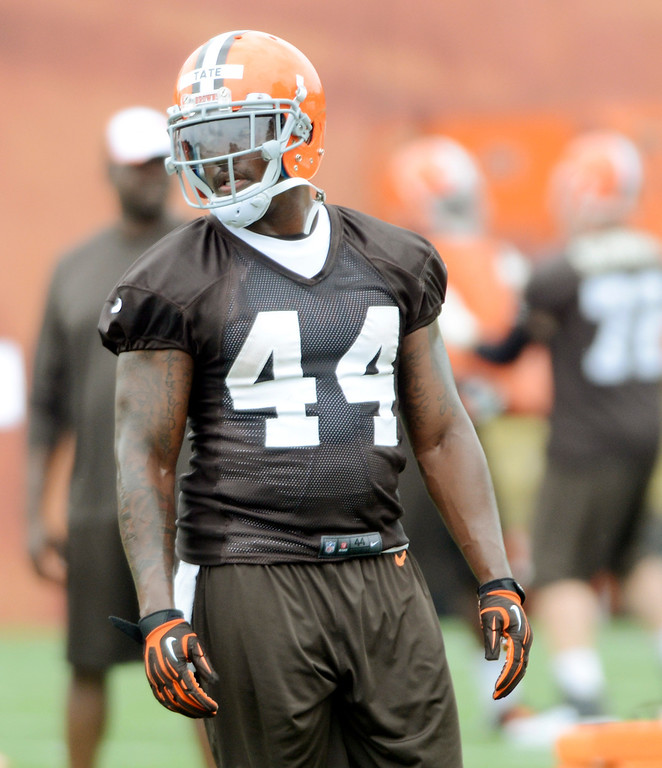 Description of . Maribeth Joeright/MJoeright@News-Herald.com <p> Browns running back Ben Tate is shown during mini camp in Berea, June 10, 2014.
