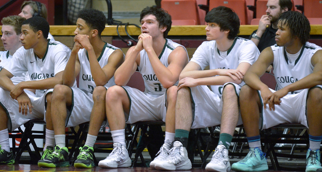 Description of . Jeff Forman/JForman@News-Herald.com Lake Catholic players show their disappointment in the final seconds of the Cougars' 68-52 Division II regional semifinal loss March 13 to St. Vincent St. Mary at the Canton Civic Center.