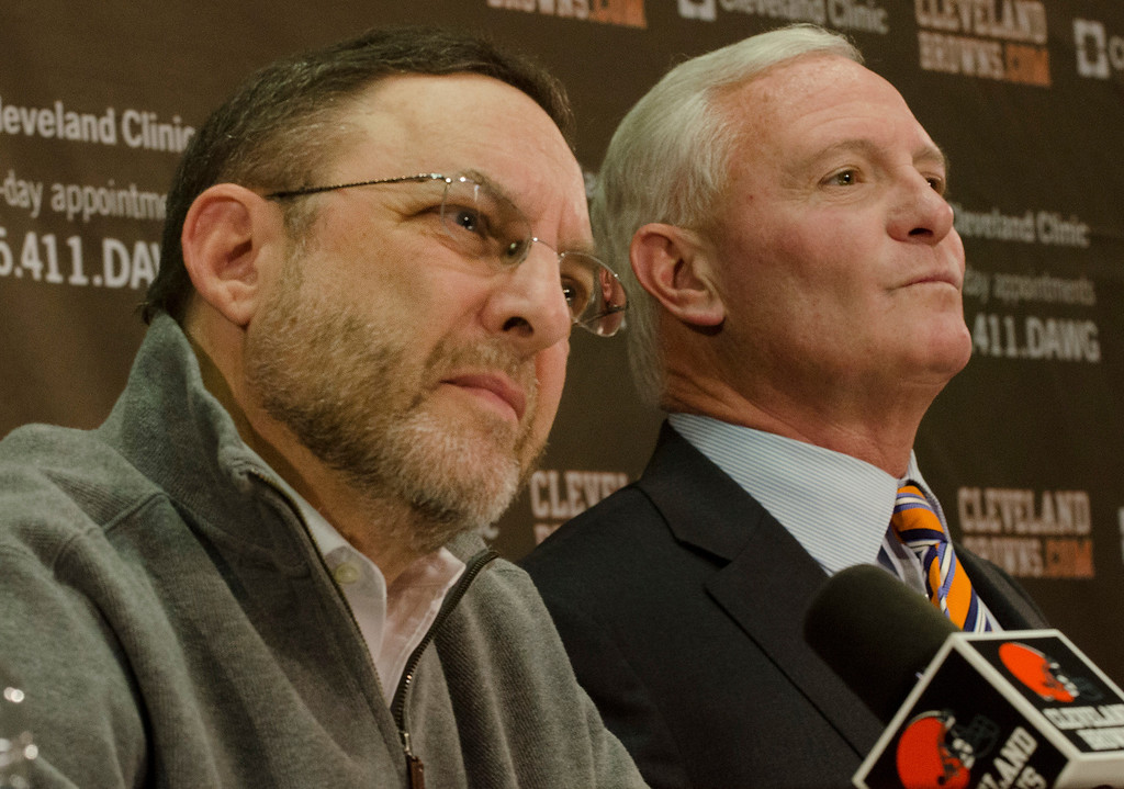 Description of . Michael Allen Blair/MBlair@21st-CenturyMedia.com Browns CEO Joe Banner and owner Jimmy Haslam field questions from reporters during a press conference on December 30, 2013 to discuss the firing of head coach Rob Chudzinski after less than one year at the helm of the Browns.