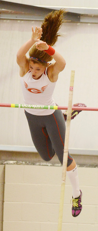 Description of . Maribeth Joeright/MJoeright@News-Herald.com<p> Geneva's Ally Thompson clears 12 ft in the girls pole vault during the PAC meet at SPIRE Institute, May 15, 2014. Earlier, Thompson cleared 11'9