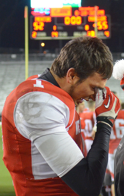 Description of . Michael Allen Blair/ MBlair@News-Herald.com Mentor's Brandon Fritz fights back tears after losing to Cincinnati Moeller 55-52 at Saturday's Div. I state championship game at Fawcett Stadium in Canton.