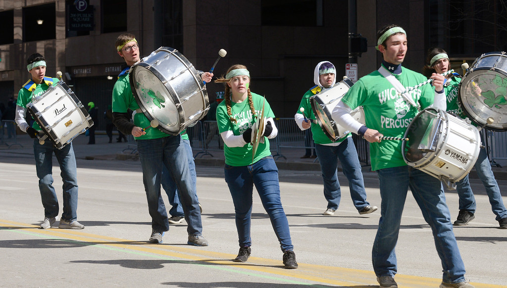 Description of . Maribeth Joeright/MJoeright@News-Herald.com<p> Members of the Wickliffe Percussion Band participate in the 147th annual St. Patrick's Day Parade in Cleveland, March 17, 2014.