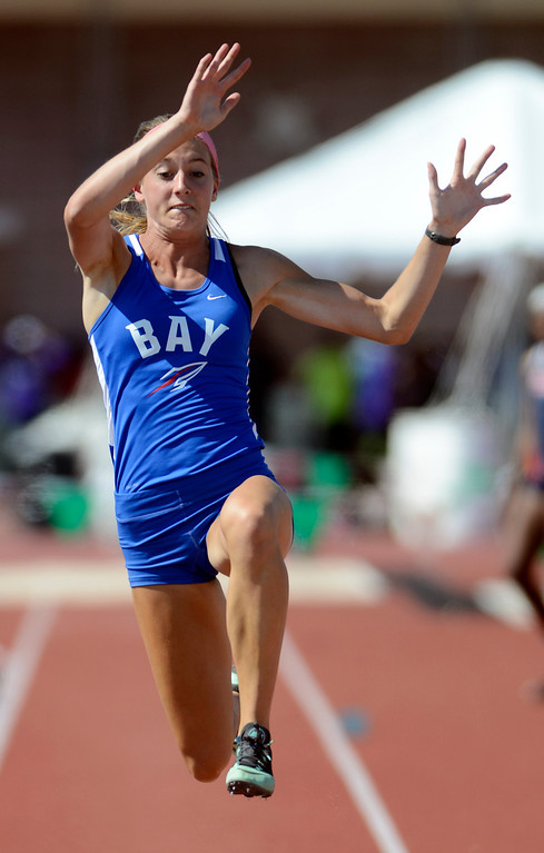 Description of . Maribeth Joeright/MJoeright@News-Herald.com <p> Bay's Olivia Bechtel takes fourth place in the Division I girls long jump event during the state track and field championship meet in Columbus,  June 7, 2014.