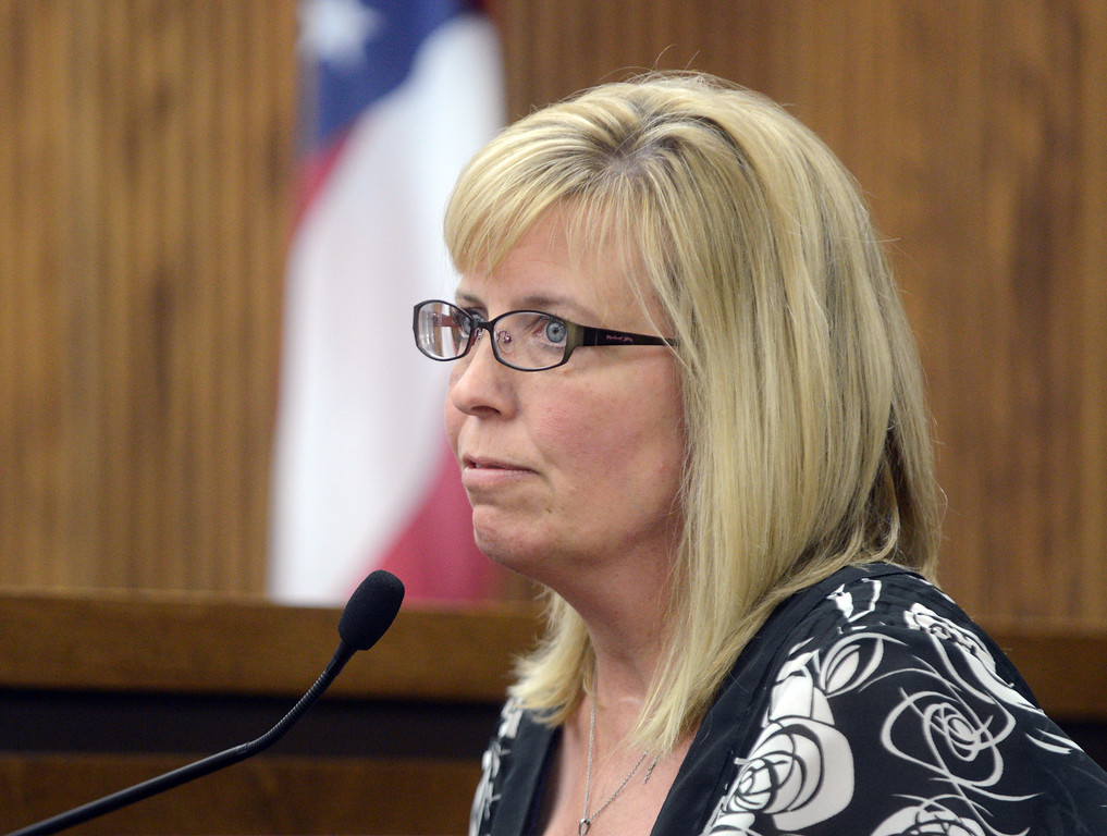 Description of . Duncan Scott/DScott@News-Herald.com Kevin Knoefel's sister Kris Sutton testifies for the defense in Lake County Common Pleas Court on June 9, 2014, day six of Knoefel's trial on a charge of conspiracy to commit aggravated murder.