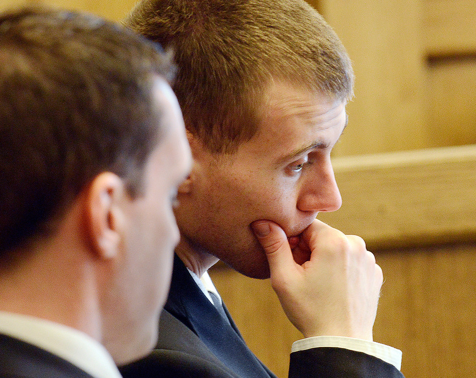 Description of . Maribeth Joeright/MJoeright@News-Herald.com<p> Nathaniel Brown is shown with his lawyer Matthew Bangerter, left,  before Lake County Common Pleas Judge Richard, L. Collins, Monday, during the start of his retrial for aggravated murder. Brown was convicted in Novemeber 2011 of aggravated murder in the death of William Andrew Fayne Putzbach. The 11th District Court of Appeals ordered he get a new trial due to lack of evidence.