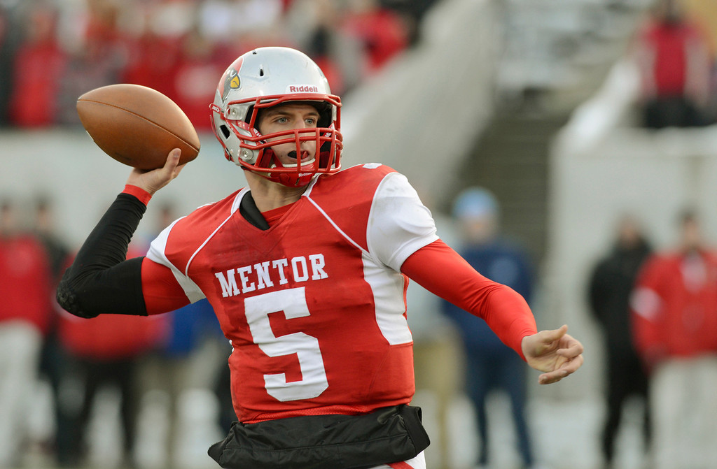 Description of . Maribeth Joeright/MJoeright@News-Herald.com <p> Mentor's Brandon Conner Krizancic looks for an open receiver in the second quarter of the Division I state final game against Archbishop Moeller, Saturday, in Canton.