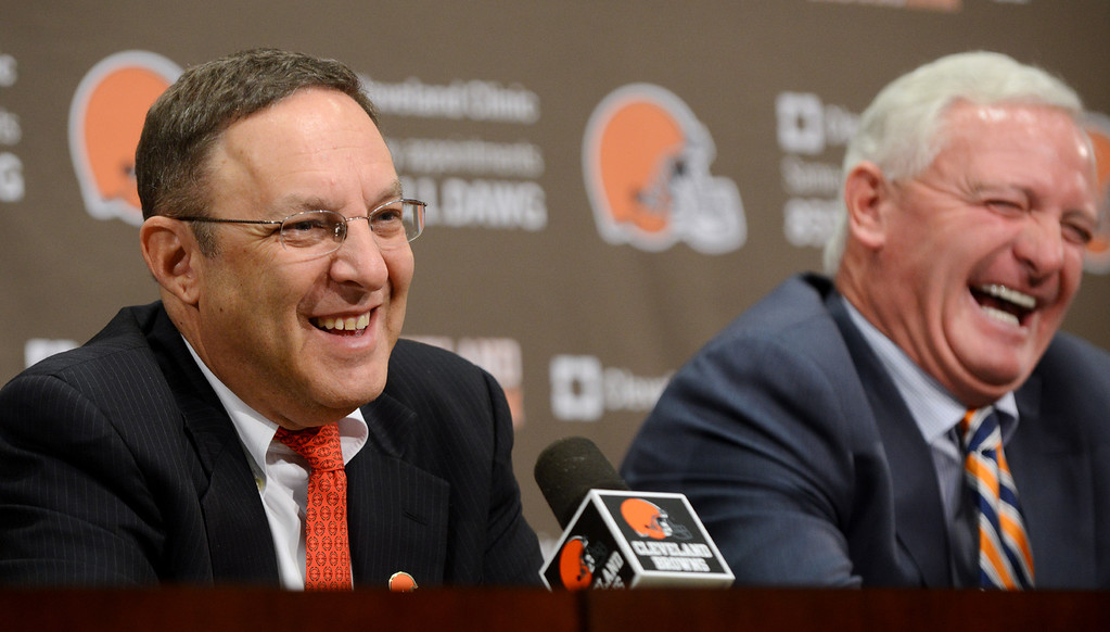 Description of . Duncan Scott/DScott@News-Herald.com Joe Banner, left, laughs with owner Jimmy Haslam while answering a question during a press conference on October 17, 2012 that introduced Banner as the Browns new Chief Executive Officer.