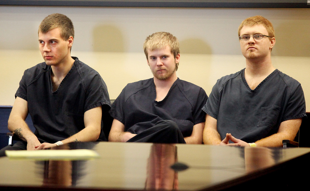 Description of . Michael Allen Blair@MBlair@News-Herald.com From left; Nathaniel Brown, Kyle Basinger and Ronald Shirer listen in during a court appearance April 27, 2011. Basinger was the only one of the three defendants who didn't waive his preliminary hearing.