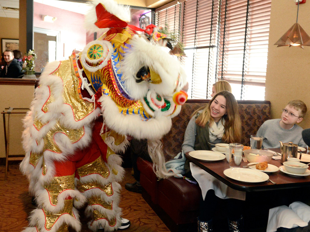 Description of . Maribeth Joeright/MJoeright@News-Herald.com Jessica Kump, 16, and Jacob Kanuk, 10, of Mentor react with both amusement and bewilderment during the lion dance, a tradition of the Chinese New Year celebration.